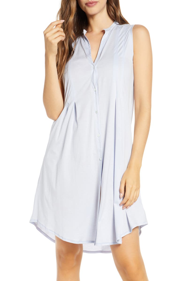 HANRO Jersey Short Nightgown, Main, color, BLUE GLOW