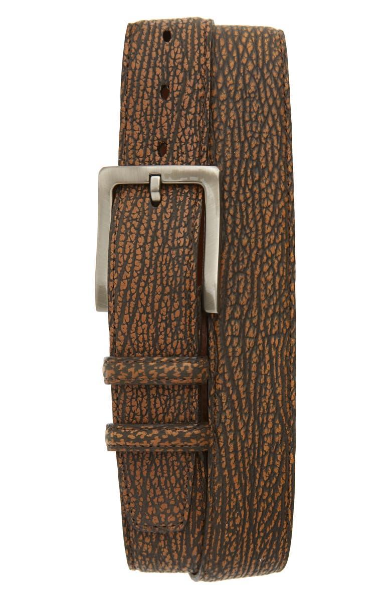 TORINO Genuine Sharkskin Leather Belt, Main, color, ANTIQUE SADDLE