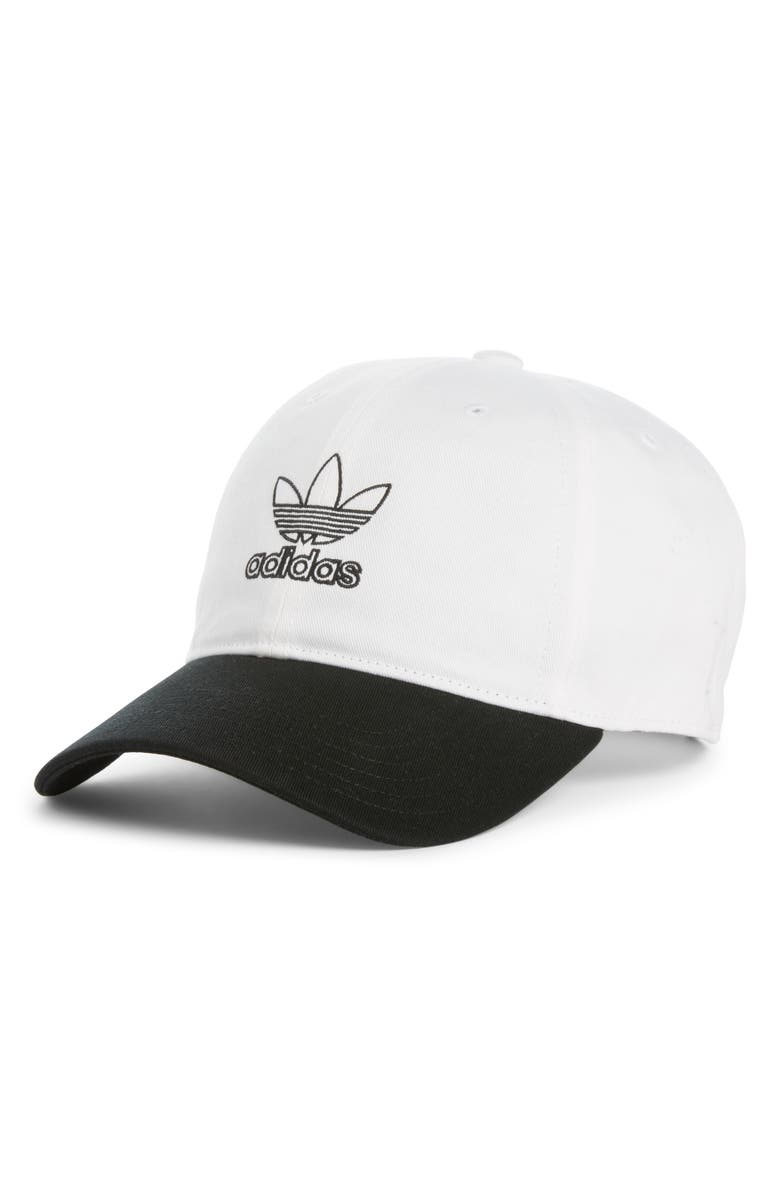 ADIDAS Originals Outline Logo Relaxed Baseball Cap, Main, color, WHITE