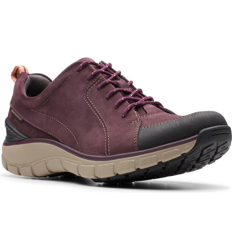 CLARKS<SUP>®</SUP> Wave Go Waterproof Sneaker, Main, color, AUBERGINE NUBUCK LEATHER