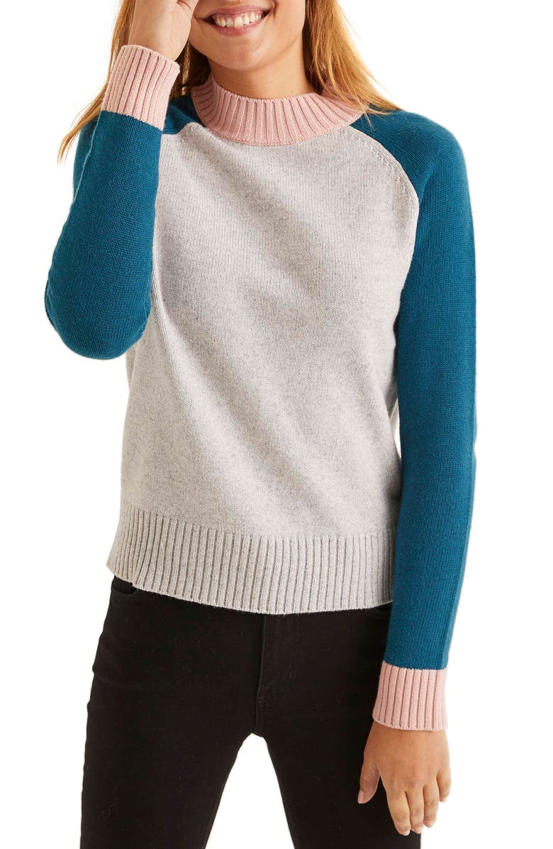 BODEN Flora Sweater, Main, color, SILVER MELANGE