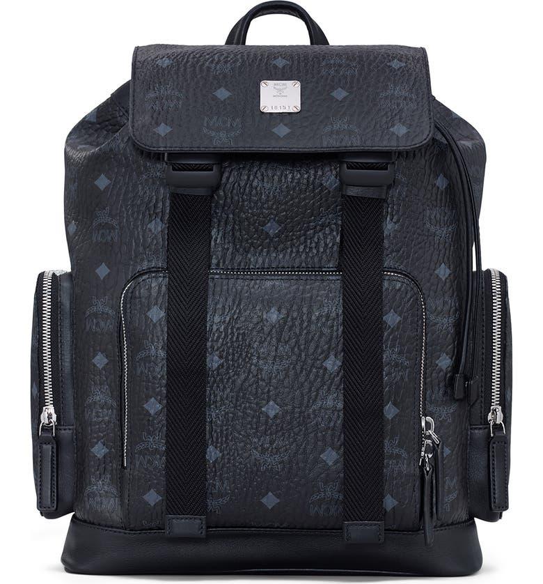 MCM Brandenburg Coated Canvas Backpack, Main, color, BLACK