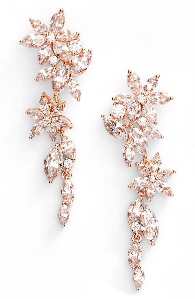 NADRI Flower Linear Drop Earrings, Main, color, 650