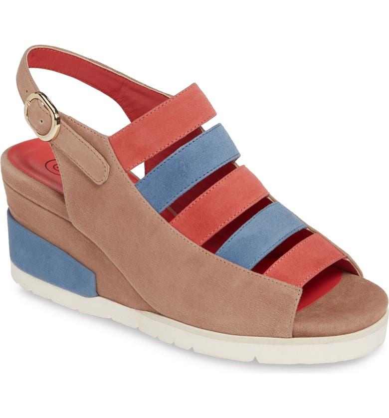 PAS DE ROUGE Fleur Wedge Sandal, Main, color, PINK MULTI SUEDE