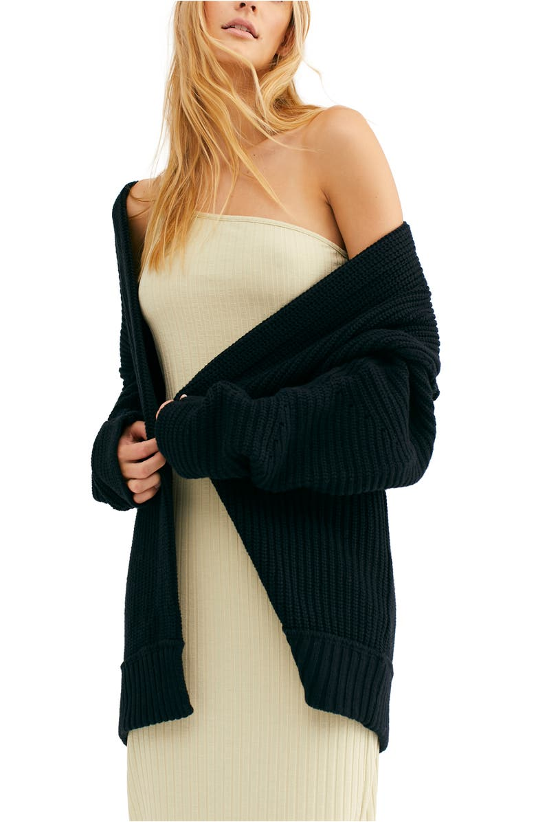 FREE PEOPLE High Hopes Cardigan, Main, color, BLACK