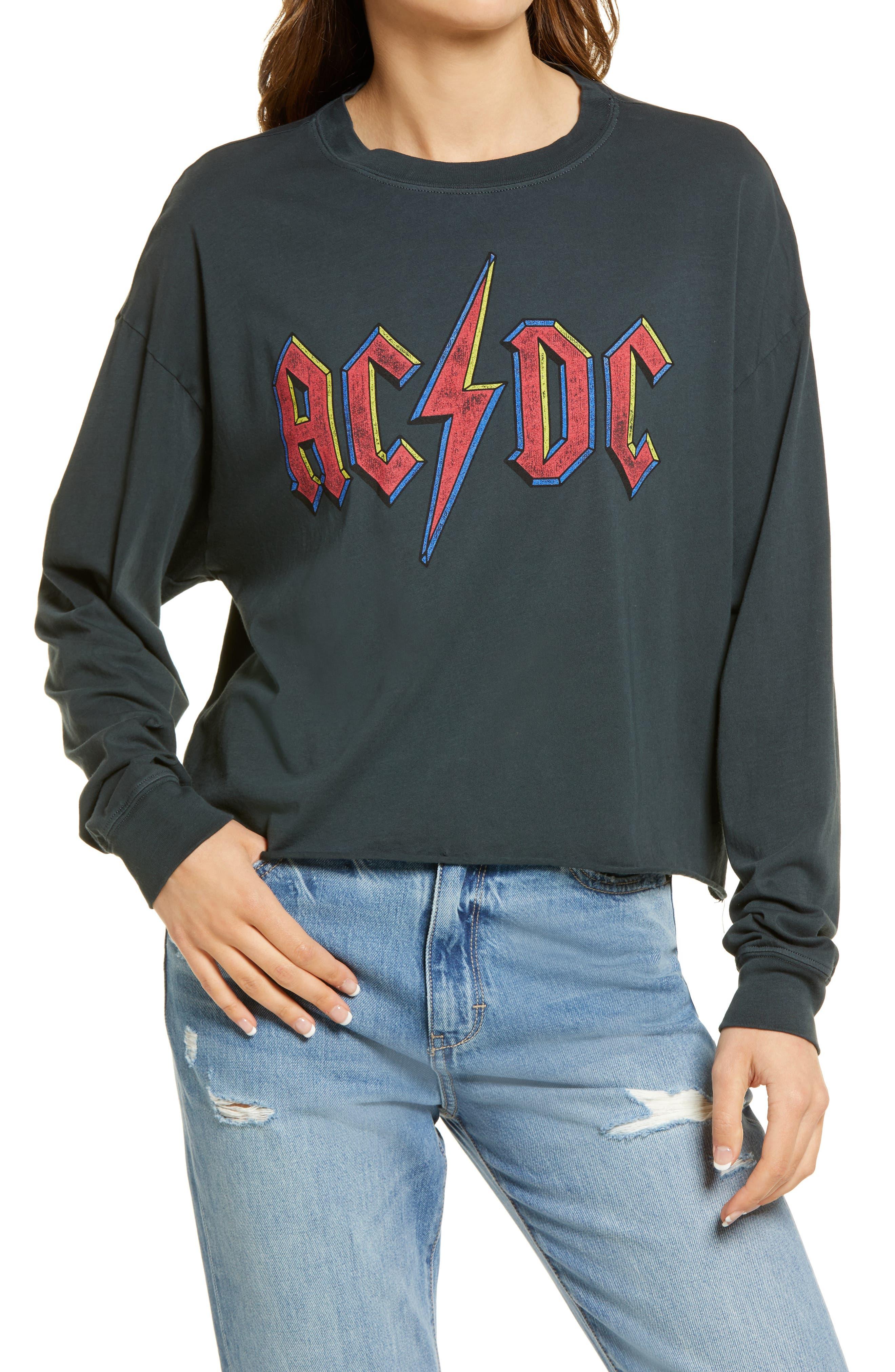 Ac/dc Crop Graphic Sweatshirt