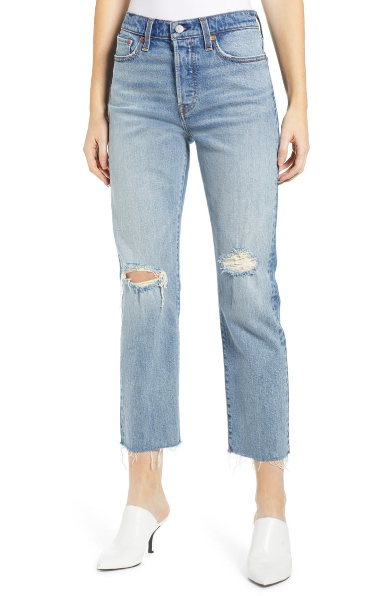 Levis Wedgie High Waist Ripped Crop Straight Leg Jeans In Two Minds