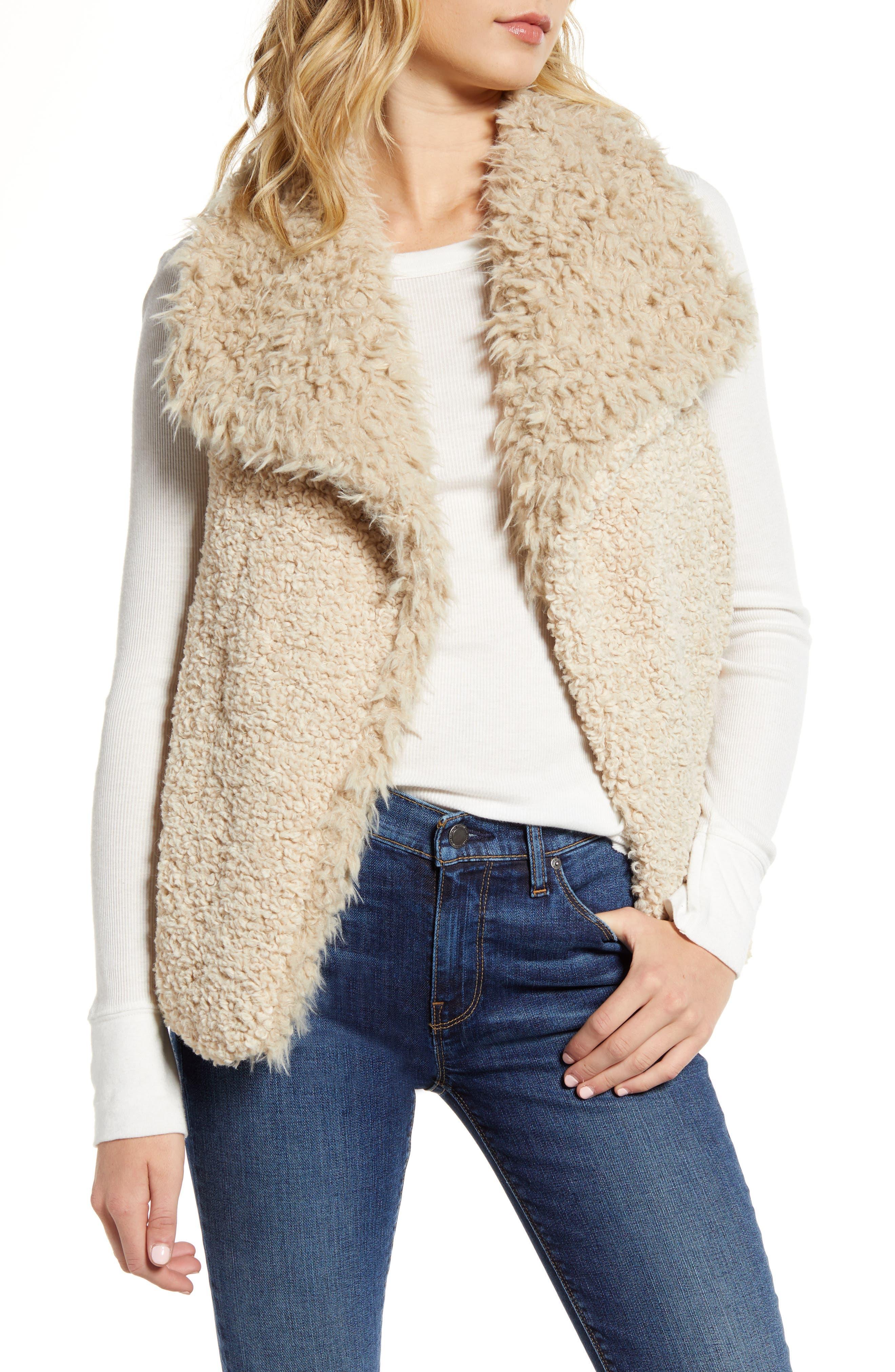 Woven Heart Reversible Faux Fur & Faux Shearling Vest
