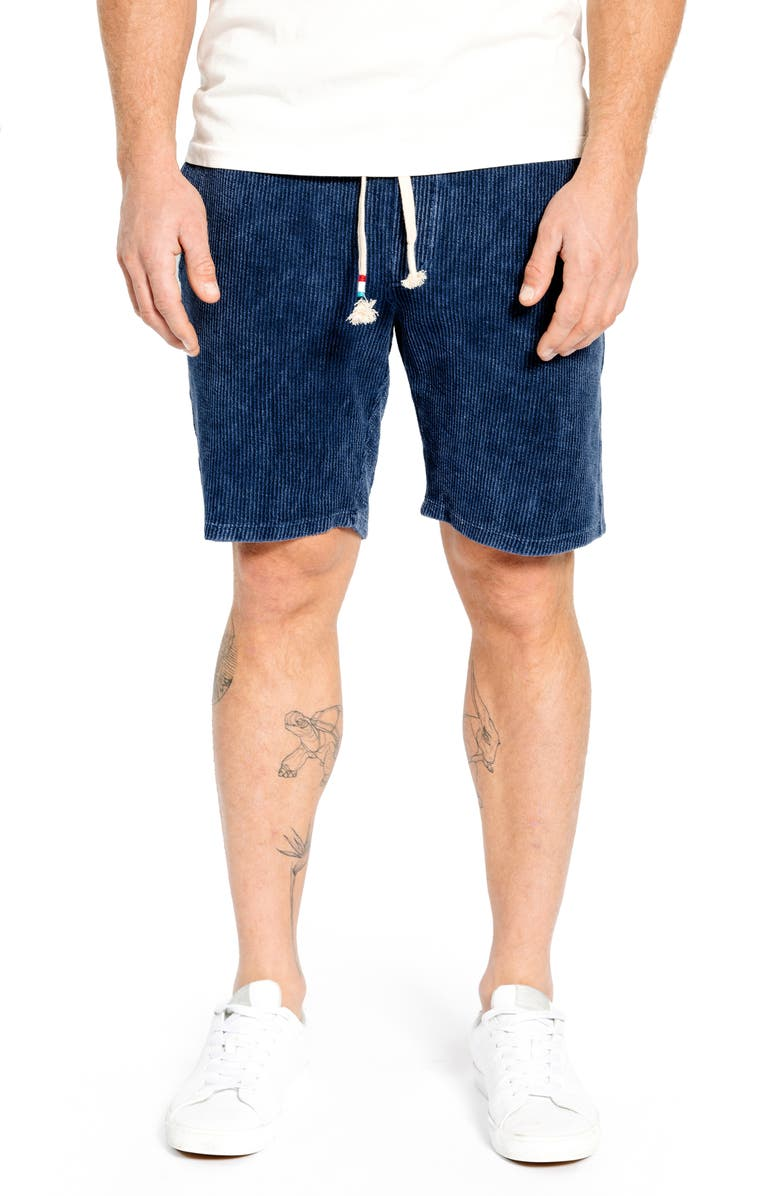 SOL ANGELES Mineral Wash Corduroy Drawstring Shorts, Main, color, INDIGO