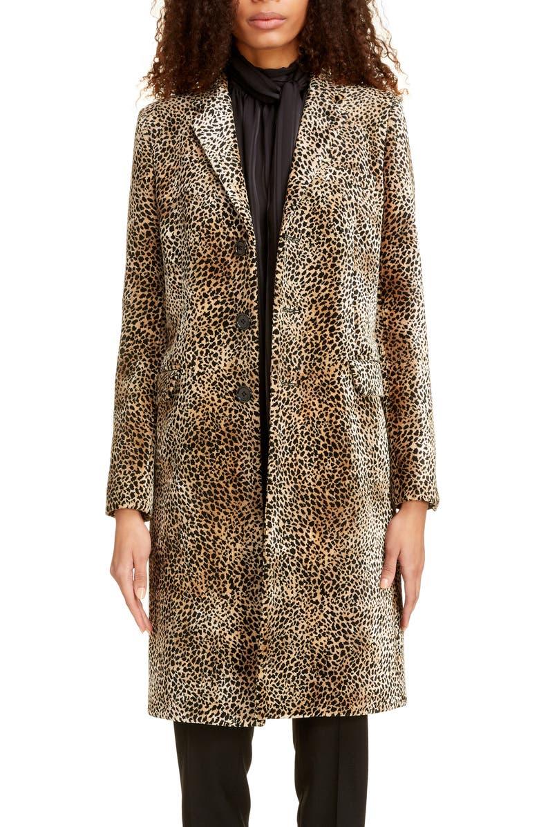 SAINT LAURENT Leopard Chesterfield Coat, Main, color, BEIGE NOIR