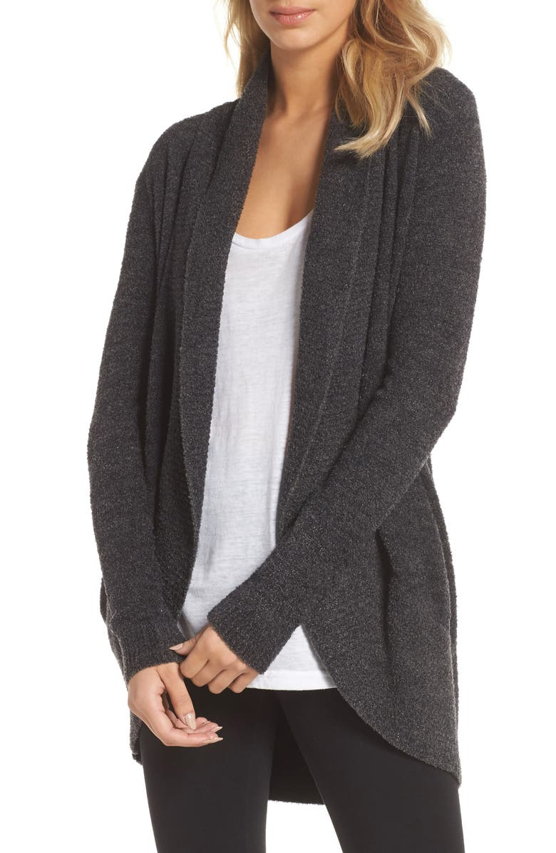 BAREFOOT DREAMS<SUP>®</SUP> CozyChic<sup>™</sup> Lite Circle Cardigan, Main, color, CARBON/ BLACK HEATHER