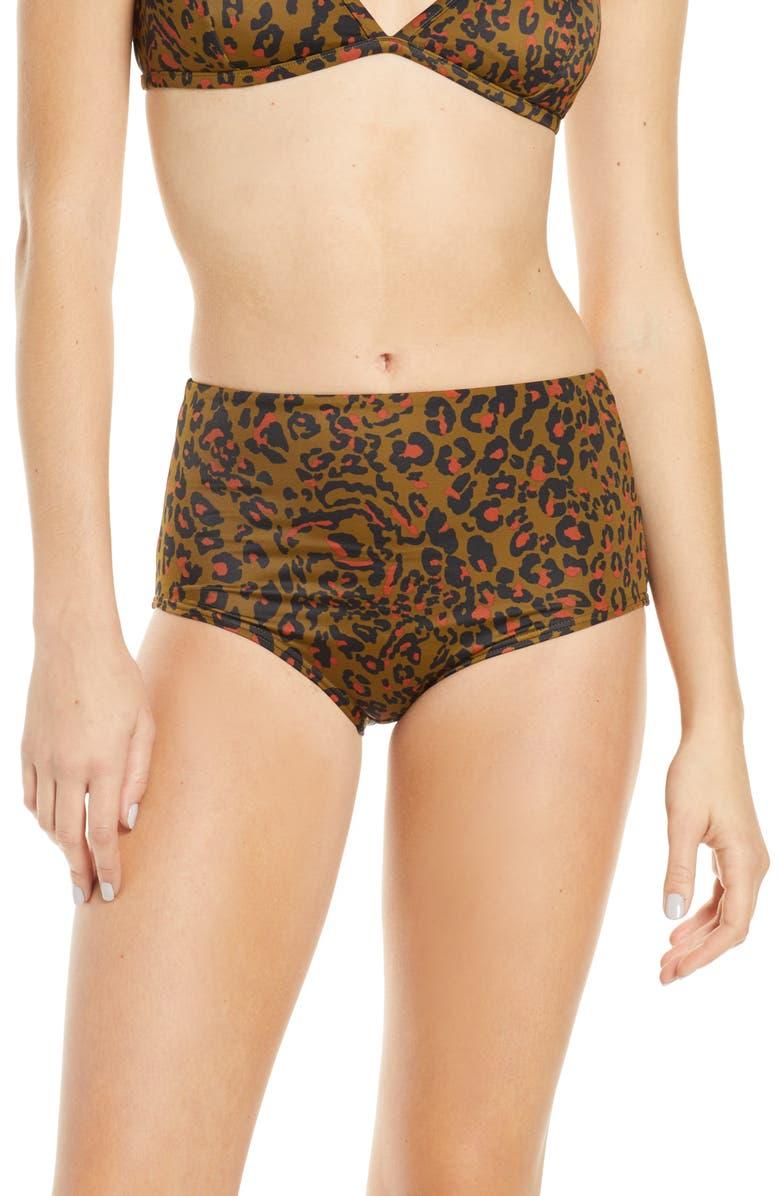 MADEWELL Second Wave Retro High-Waisted Bikini Bottoms, Main, color, CORD LEOPARD ASAPARGUS