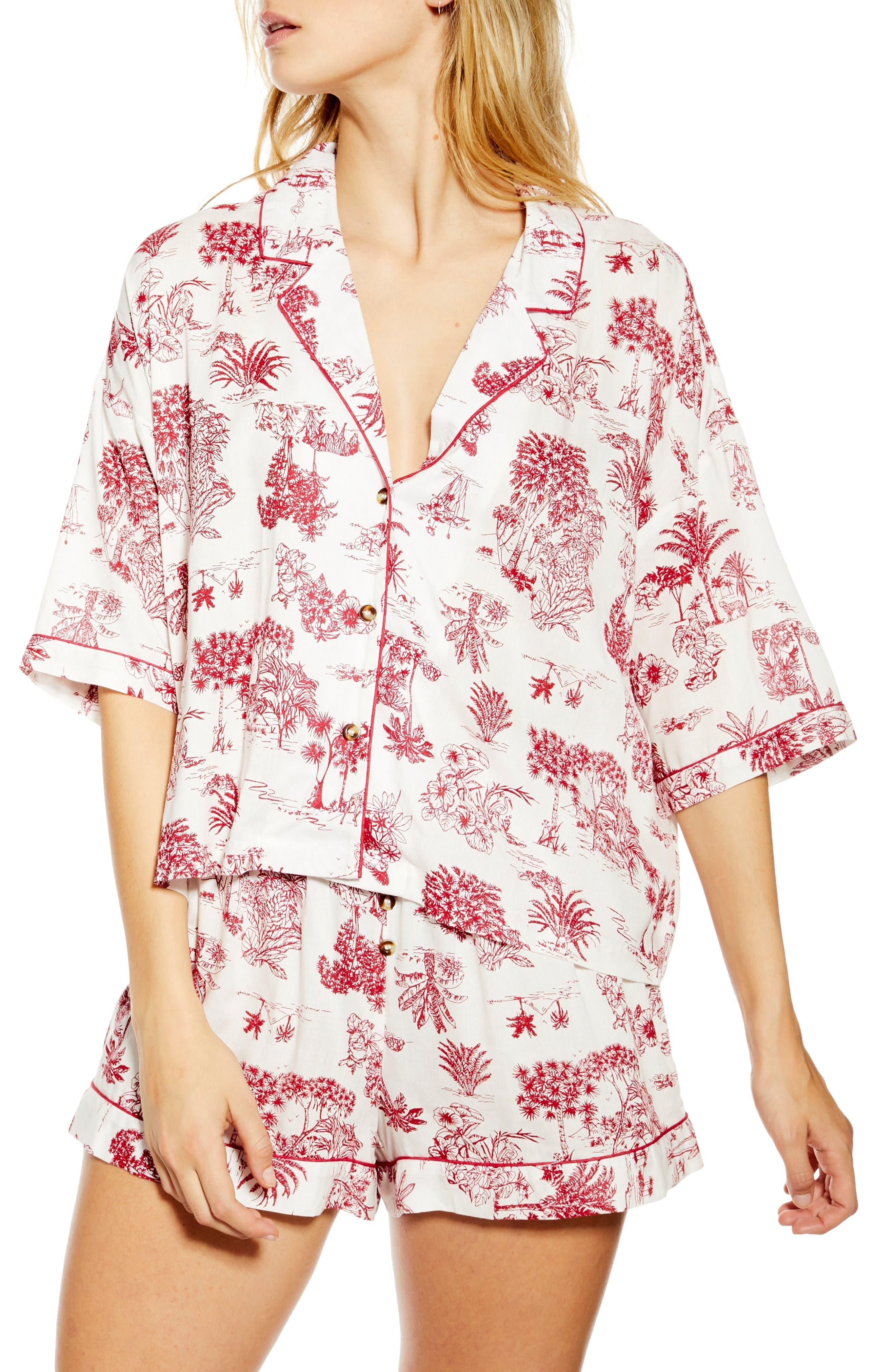 Topshop Jungle Print Short Pajamas, Ivory