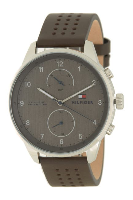 Image of Tommy Hilfiger Men's Chase Leather Strap Watch, 44mm