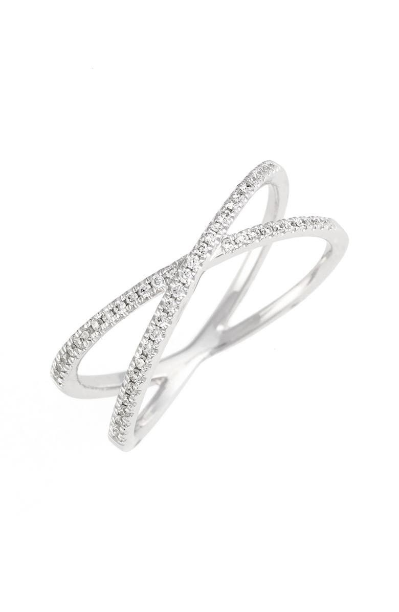 BONY LEVY Stackable Crossover Diamond Ring, Main, color, WHITE GOLD