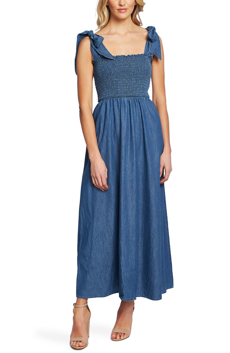 CECE Tie Shoulder Smocked Denim Maxi Dress, Main, color, 422