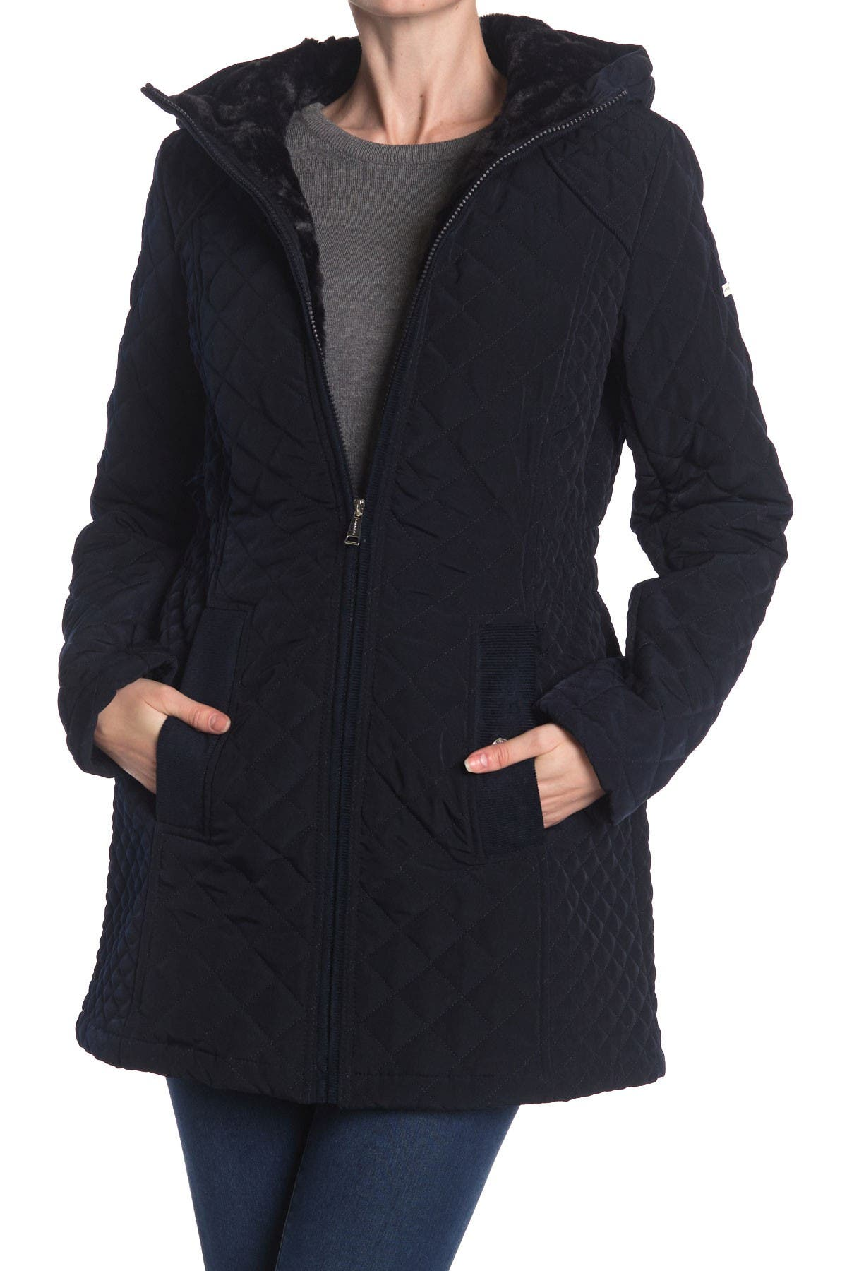 Laundry By Shelli Segal Center Zip Quilted Faux Fur Lined Hooded Jacket
