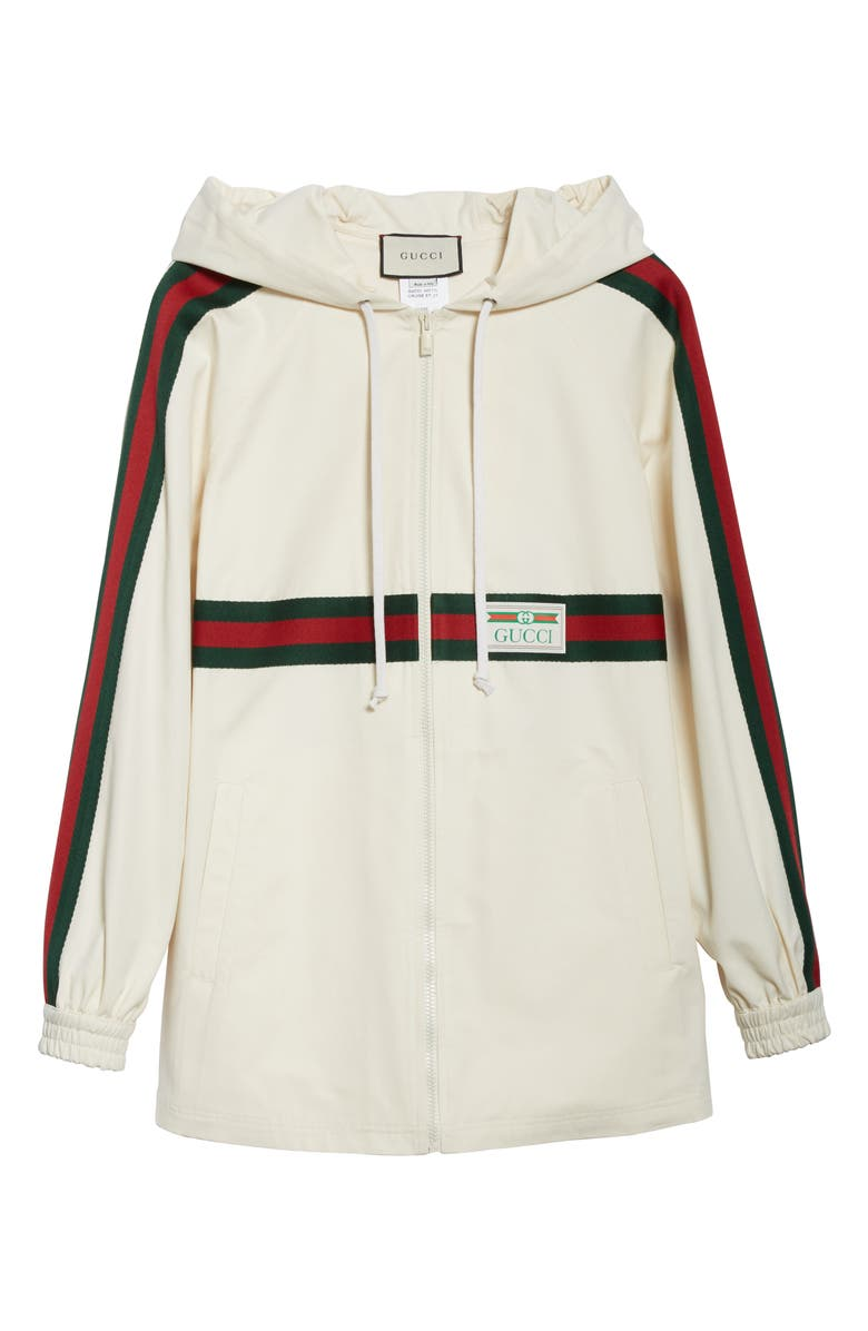 GUCCI Logo Label Cotton Hooded Jacket, Main, color, IVORY/ MULTICOLOR