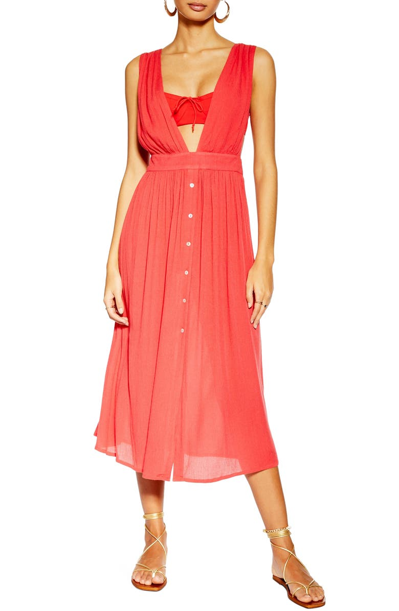 TOPSHOP Button Cover-Up Midi Dress, Main, color, RED
