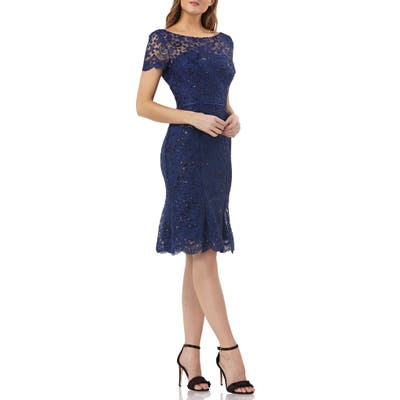 Js Collections Sequin Corded Lace Cocktail Sheath, Blue