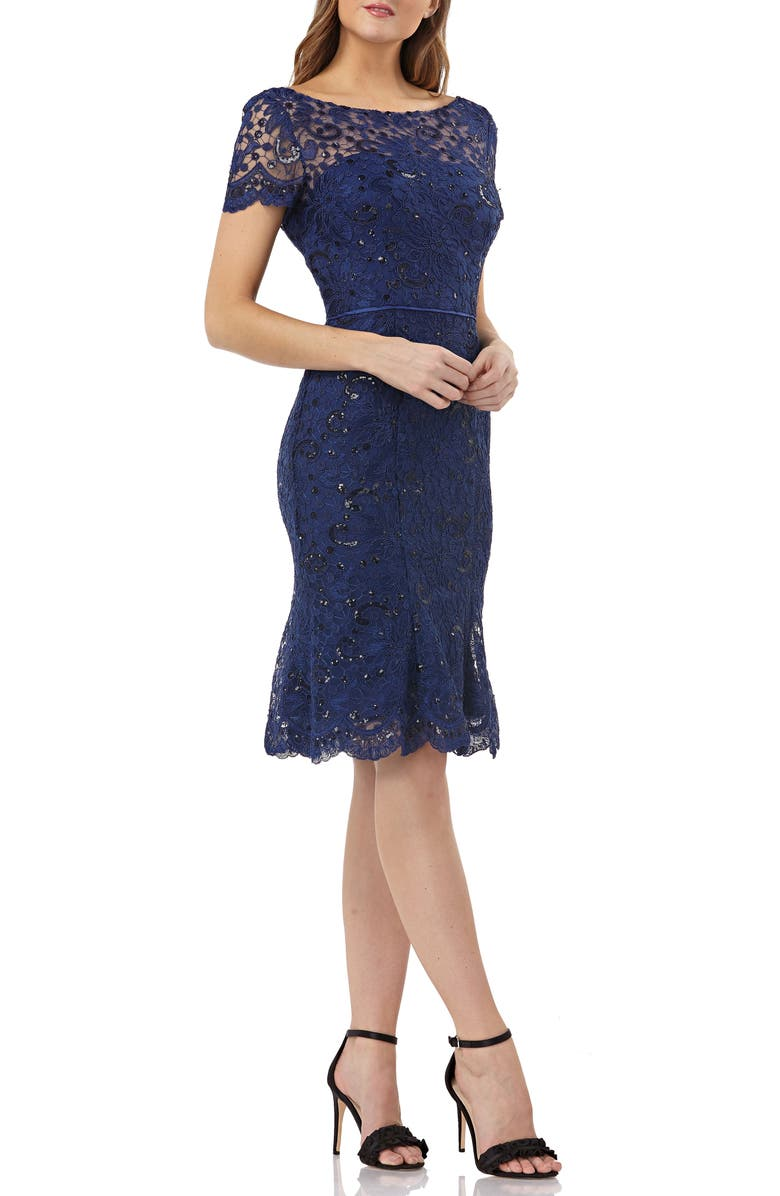 JS COLLECTIONS Sequin Corded Lace Cocktail Sheath, Main, color, MIDNIGHT