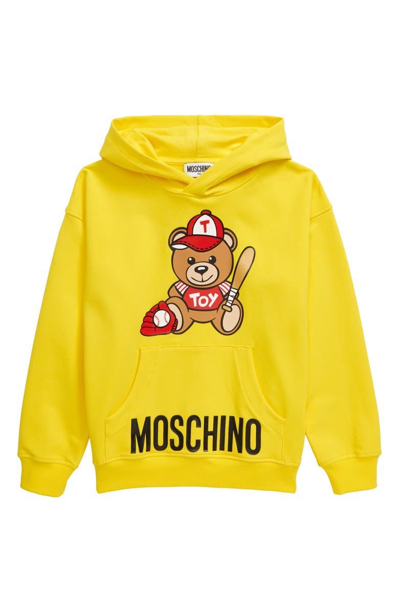 MOSCHINO Baseball Teddy Bear Logo Stretch Cotton Hoodie, Main, color, 700