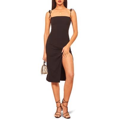 Reformation Carolyn Tie Shoulder Stretch Tencel Lyocell Sundress, Black