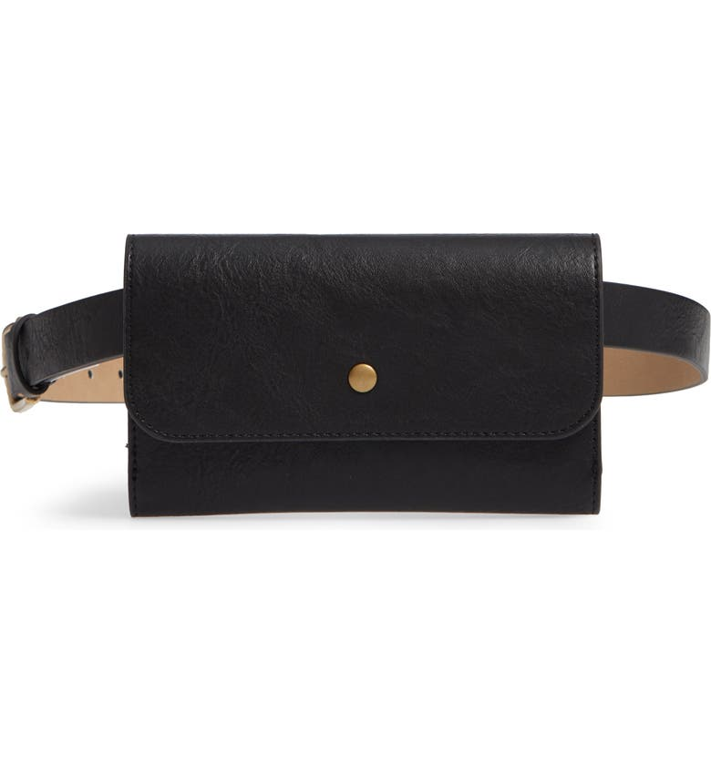 TREASURE & BOND Faux Leather Belt Bag, Main, color, 001
