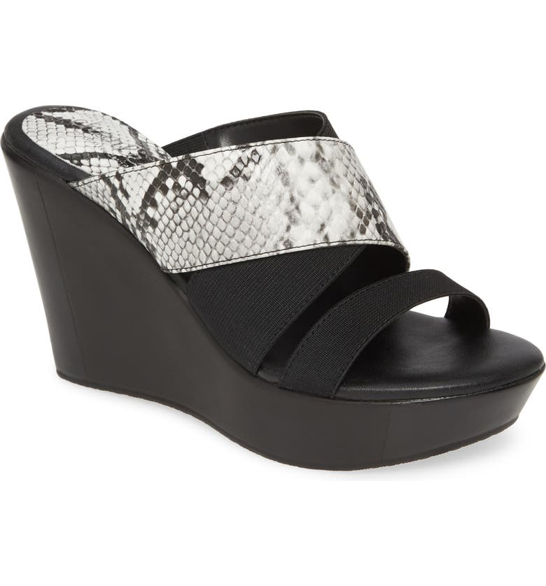CHARLES BY CHARLES DAVID Fefe Wedge Sandal, Main, color, BLACK/ WHITE