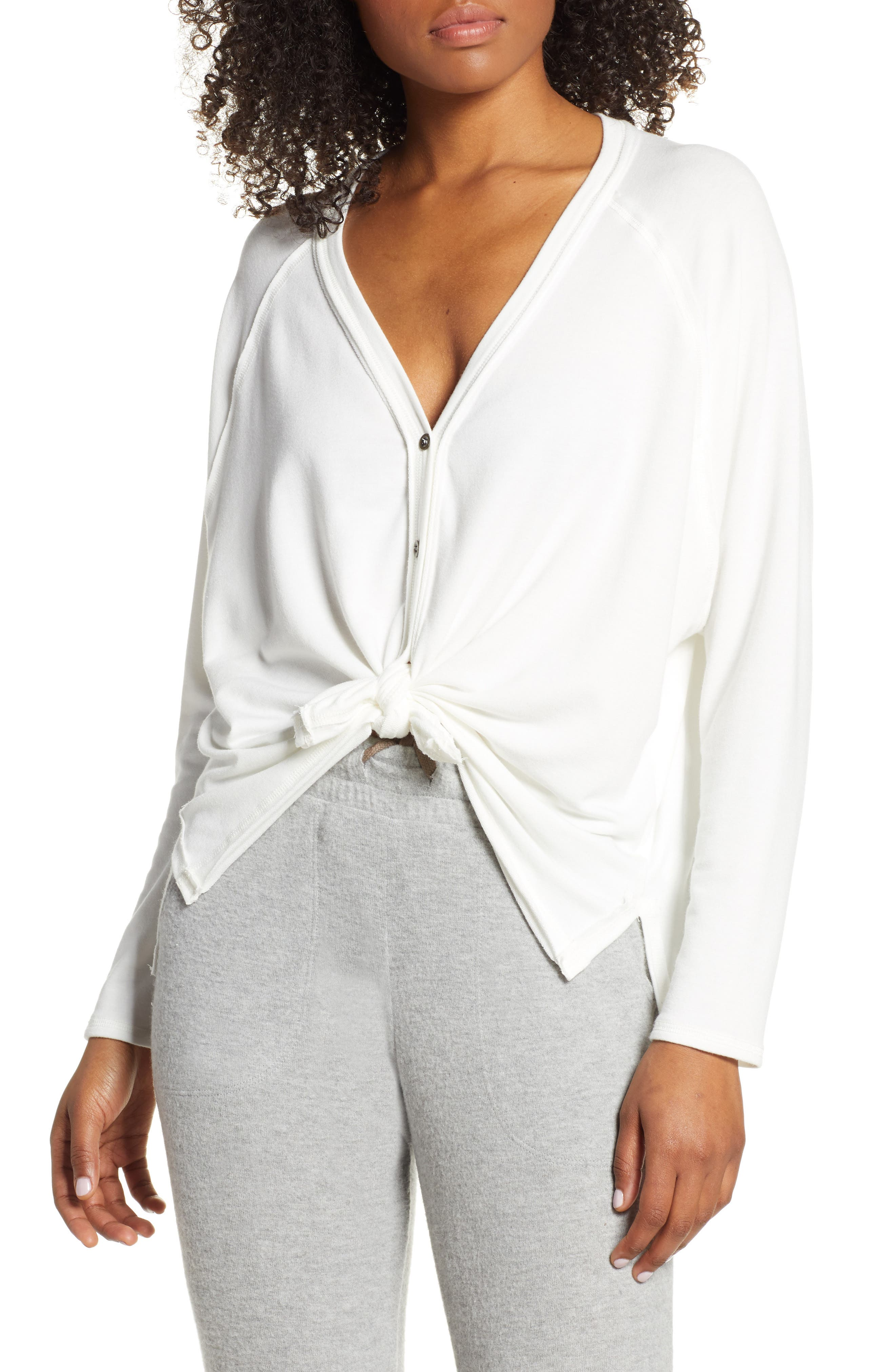 Project Social T Keara Tie Front Cardigan, Ivory