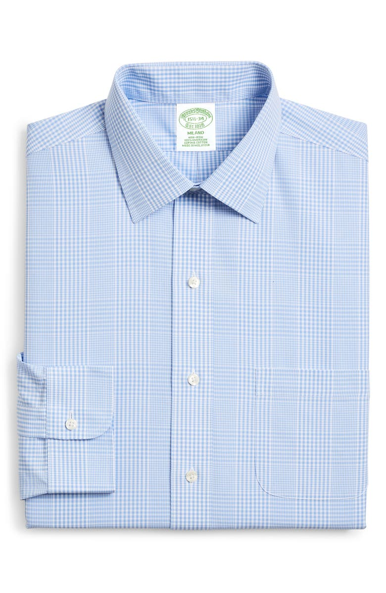 BROOKS BROTHERS Trim Fit Plaid Dress Shirt, Main, color, BLUE