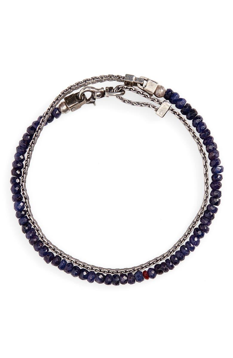 TITLE OF WORK Wrap Bracelet, Main, color, METALLIC SILVER/ SAPPHIRE