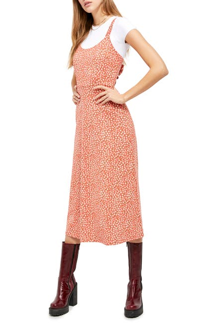 Free People Women's Lorelai Daisy Print Tie Back Sundress (Red)