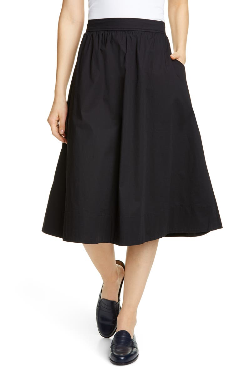 EILEEN FISHER Gathered Organic Stretch Cotton Midi Skirt, Main, color, 001