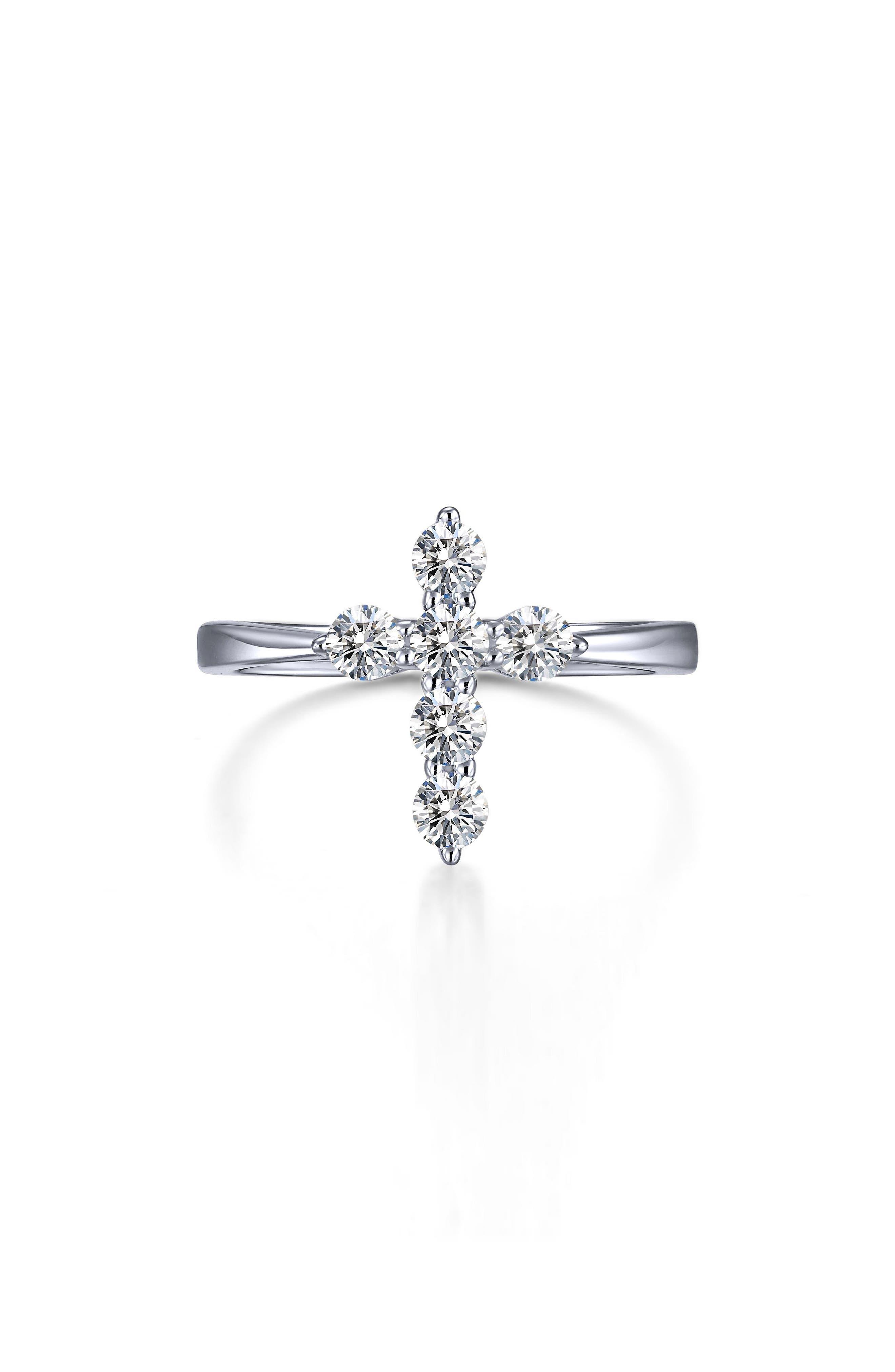 Classic Cross Simulated Diamond Ring