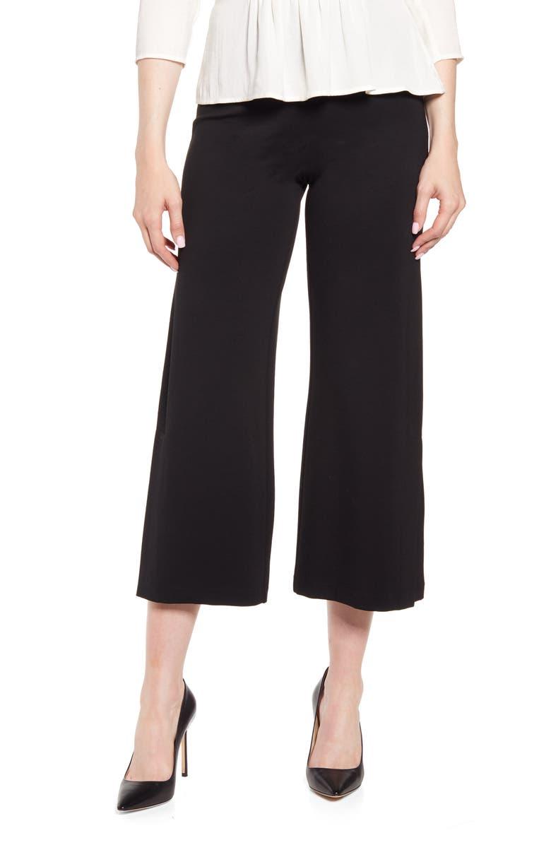 LYSSÉ Flare Vent Crop Wide Leg Pants, Main, color, BLACK