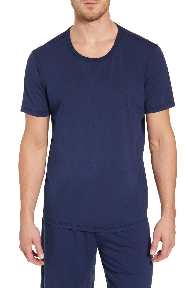 DANIEL BUCHLER Cotton & Modal Crewneck T-Shirt, Main, color, BLACK/ BLUE