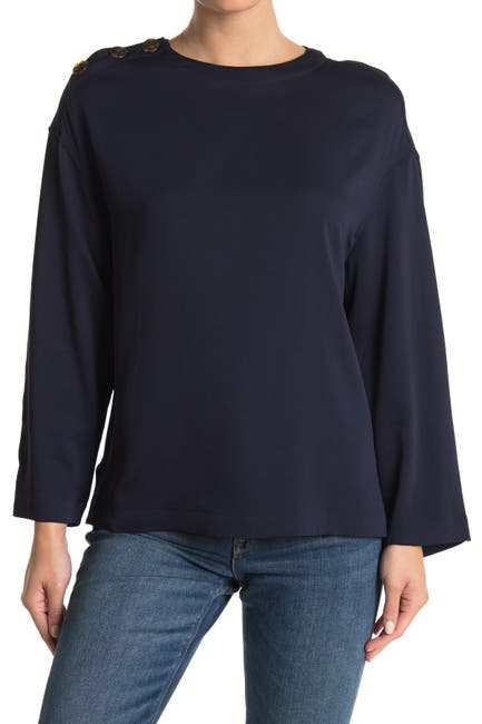 Image of REISS Casper Button Shoulder Top