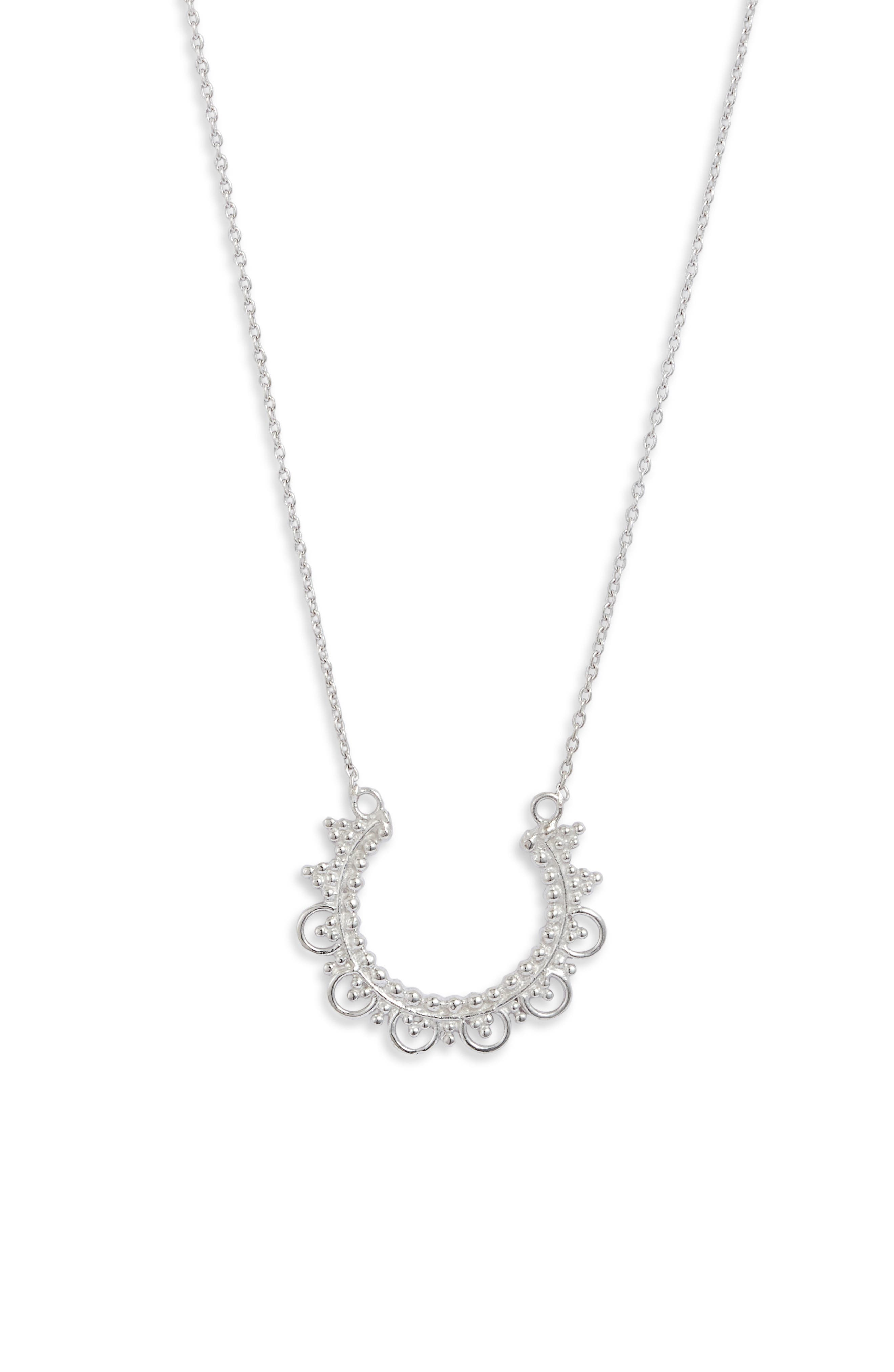 A simple design featuring an open circle embossed with lacy texturing defines this understated necklace. Style Name: Sterling Forever Open Circle Pendant Necklace. Style Number: 5931897. Available in stores.