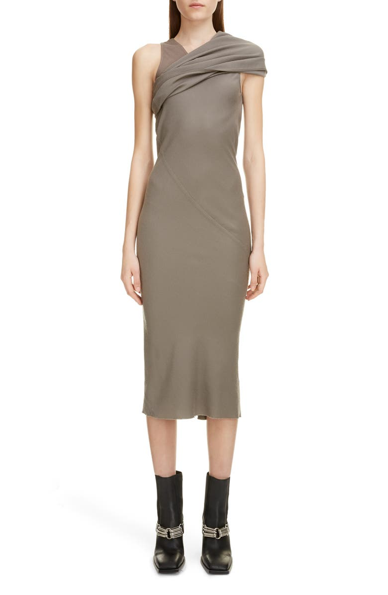 RICK OWENS Asymmetrical Wool Midi Dress, Main, color, DUST