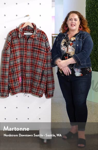 Longline Plaid Fleece Jacket, sales video thumbnail