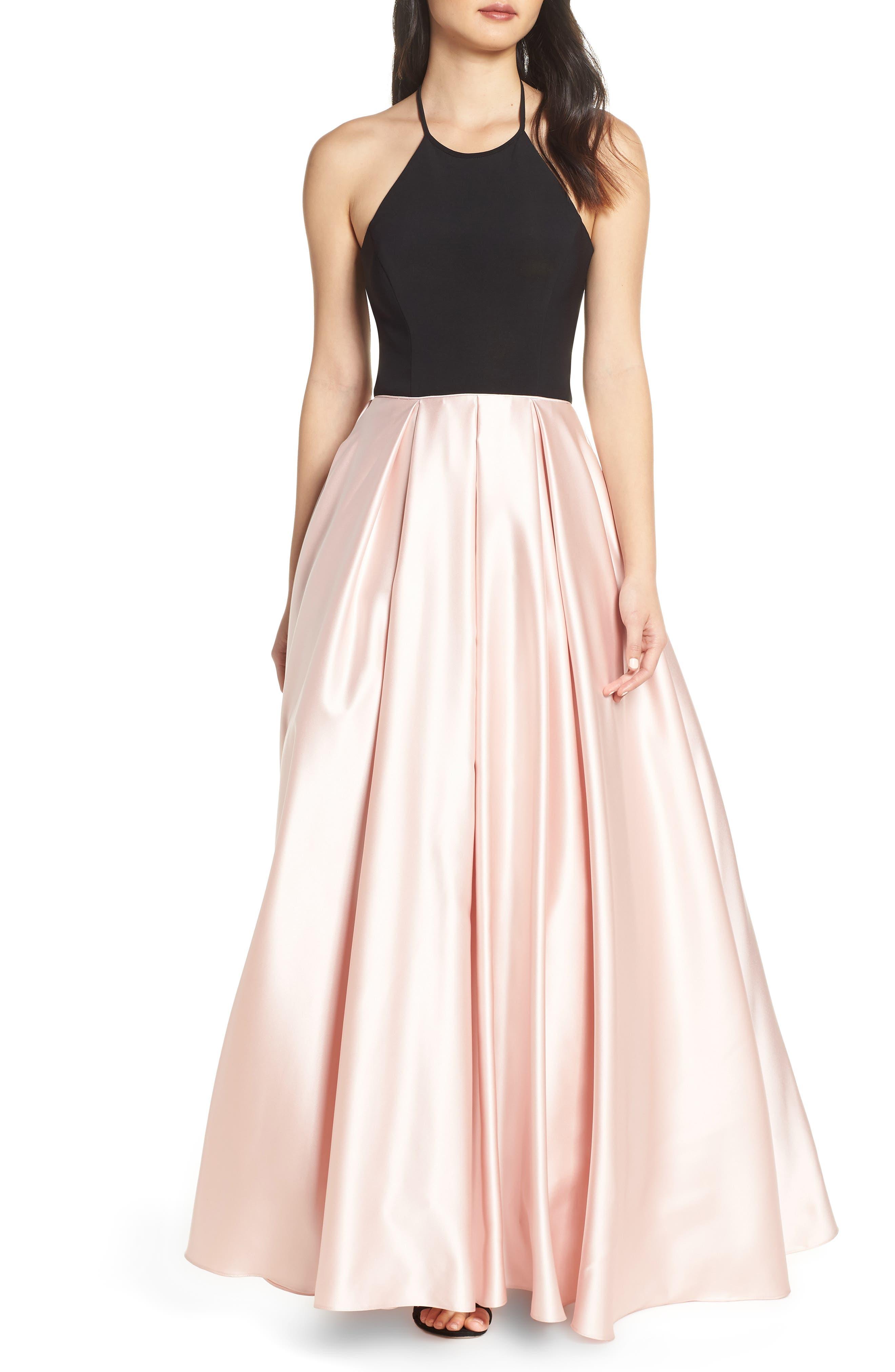 Blondie Nites Halter Satin Evening Gown, Beige