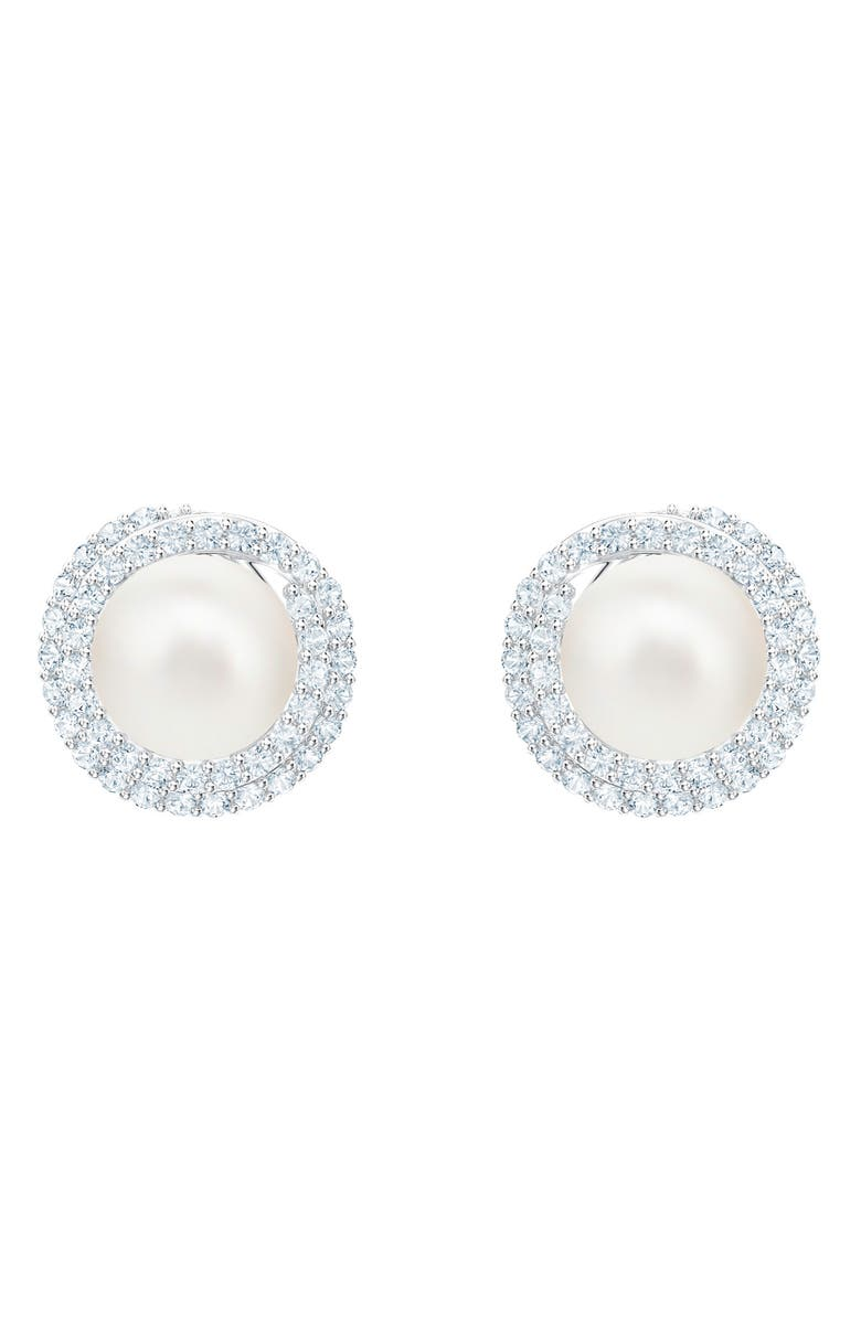 SWAROVSKI Originally Imitation Pearl Stud Earrings, Main, color, 040