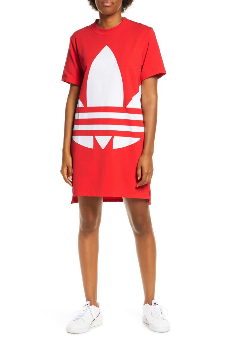 ADIDAS ORIGINALS Large Logo T-Shirt Dress, Main, color, LUSH RED/ WHITE
