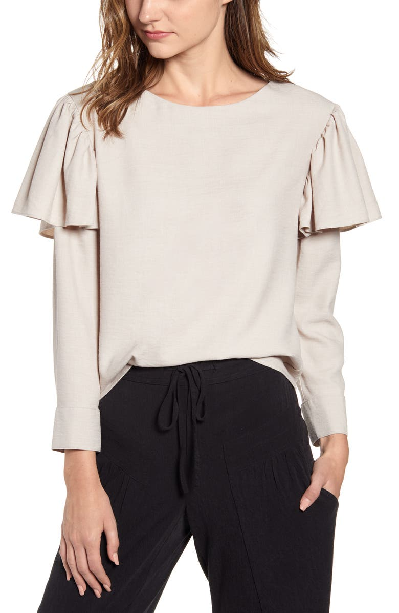 THE ODELLS Ruffle Long Sleeve Top, Main, color, 250