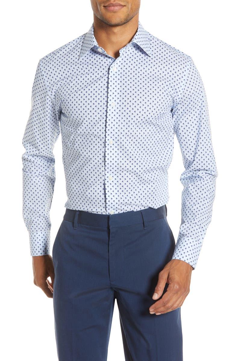 BONOBOS Slim Fit Stretch Palm Print Dress Shirt, Main, color, BLUE DEPTHS