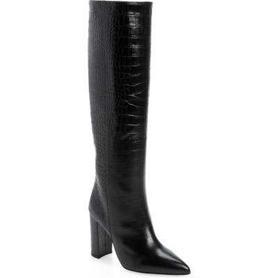 Paris Texas Croc Embossed Over The Knee Boot, Black