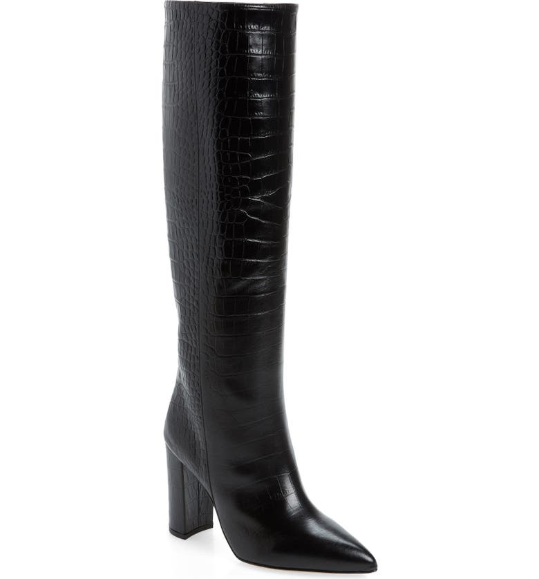 PARIS TEXAS Croc Embossed Over the Knee Boot, Main, color, 001