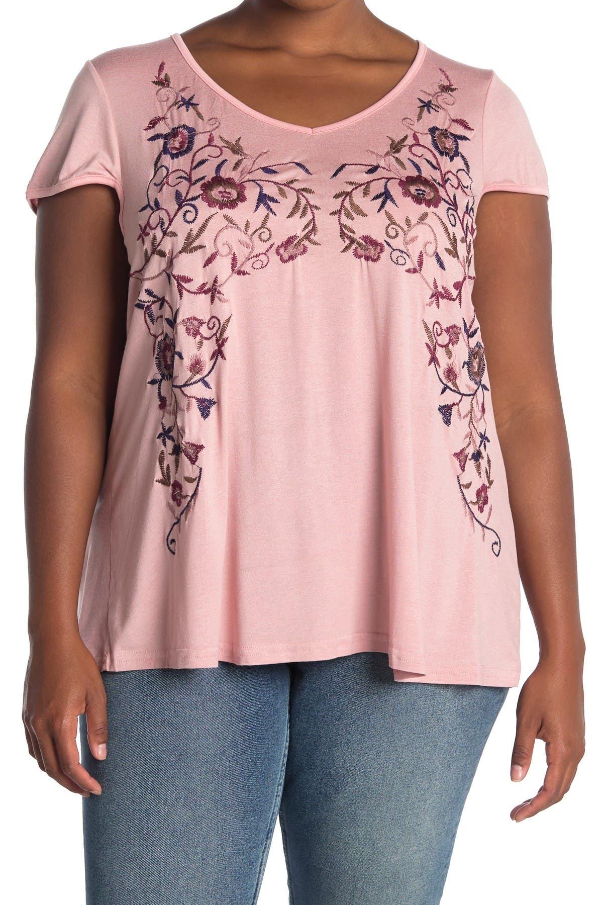 Image of Forgotten Grace Embroidered V-Neck T-Shirt