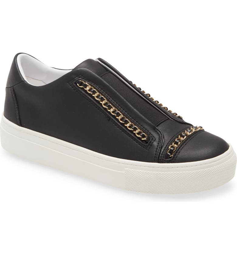 KARL LAGERFELD PARIS Crissie Chain Detail Slip-On Sneaker, Main, color, BLACK LEATHER